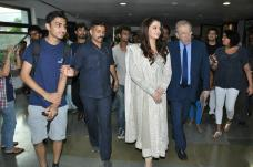 Aishwarya Rai-Bachchan and Sir David Frost arrive at Whistling Woods Academy in Film City, Mumbai. Credit IANS
